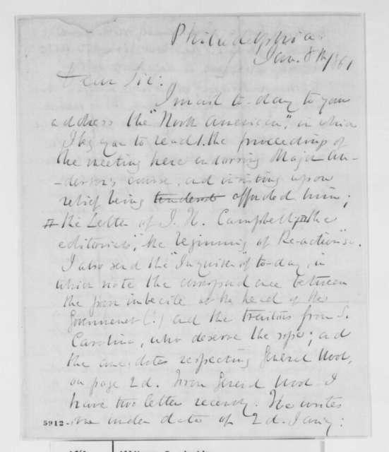 Samuel Austin Allibone to Abraham Lincoln, Tuesday, January 08, 1861  (Fort Sumter)