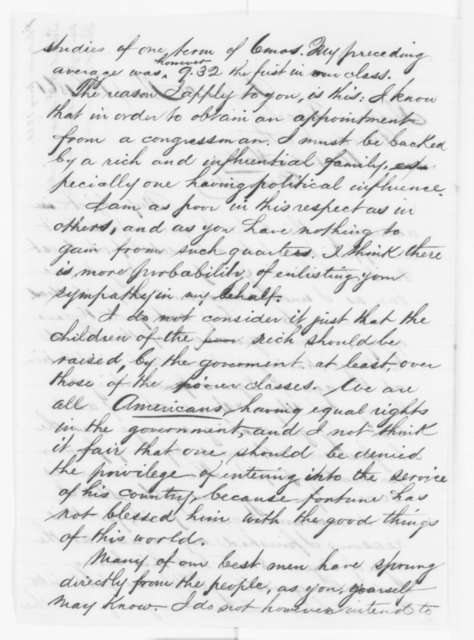 Samuel H. Edgar to Abraham Lincoln, Monday, May 13, 1861  (Seeks appointment to West Point)