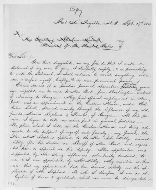 Samuel J. Anderson to Abraham Lincoln, Tuesday, September 17, 1861  (Statement regarding his imprisonment)