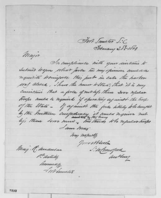 Samuel W. Crawford to Robert Anderson, Thursday, February 28, 1861  (Reinforcement of Fort Sumter)