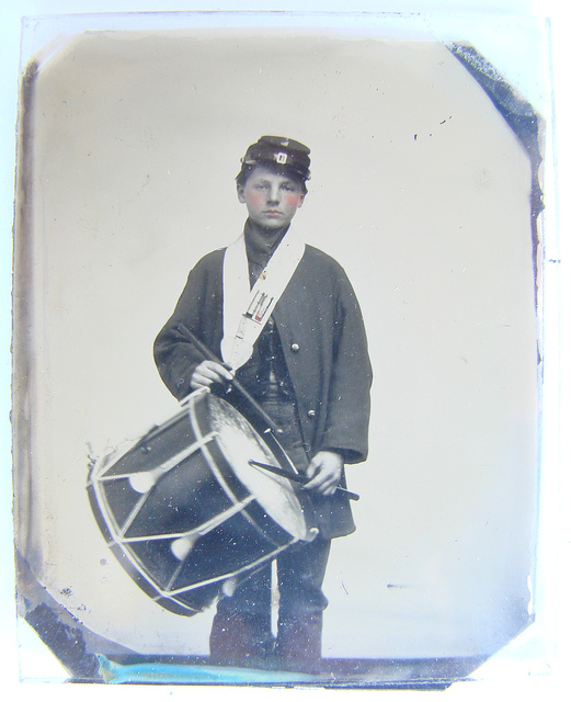 [Samuel W. Doble of Company D, 12th Maine Infantry Regiment, with drum] / S. Shattuck, ambrotype, daguerreotype, and photographic artist, 19 Central St., Lowell.