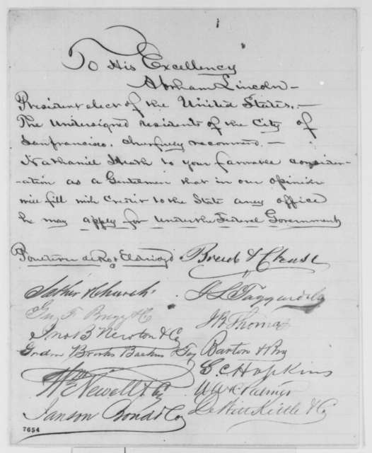 San Francisco Citizens to Abraham Lincoln, February 1861  (Petition of recommendation)