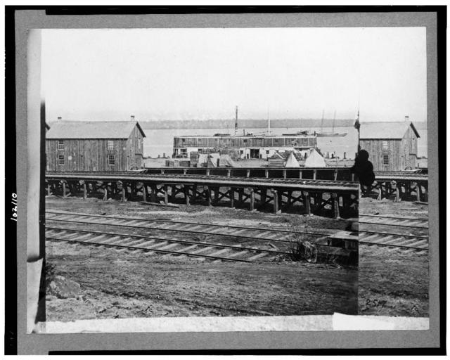 [Sanitary commission barge at the docks, City Point, Virginia]