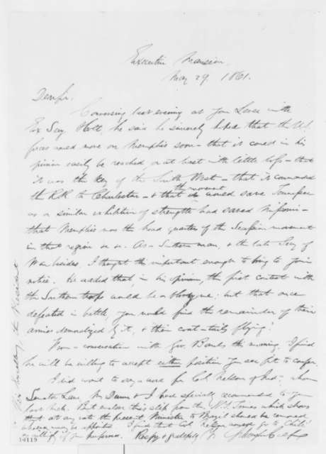 Schuyler Colfax to Abraham Lincoln, Wednesday, May 29, 1861  (Military affairs)