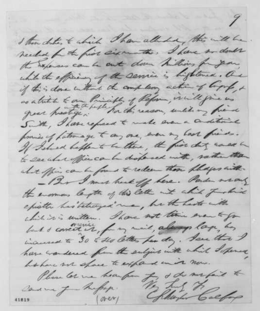 Schuyler Colfax to [Ralph P. Lowe], Tuesday, January 01, 1861  (Secession crisis; with endorsement)
