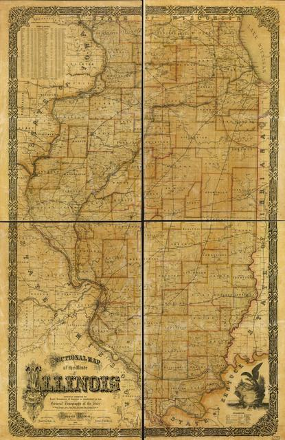 Sectional map of the state of Illinois : especially exhibiting the exact boundaries of counties as established by law and the general topography of the state as towns, streams, lakes, ponds, bluffs, rail-roads, state-& common-roads & tc. also the main coal field, mineral districts, outcrops of coalbanks, mines & tc. /