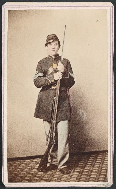 [Sergeant Cornelius V. Moore of Company B, 100th New York Volunteers, a sergeant of 39th Illinois Regiment, a corporal of 106th New York Volunteers, and a private of the 11th Vermont Regiment holding bayoneted musket] / R. A. Lord, 164 Chatham Street (158 old number), New York.