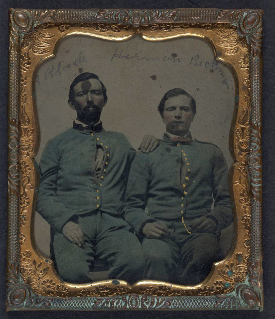 [Sergeant Robert Black and Private Herman Beckman of Company F, 8th Veteran Reserve Corps in VRC regulation sky blue uniforms]