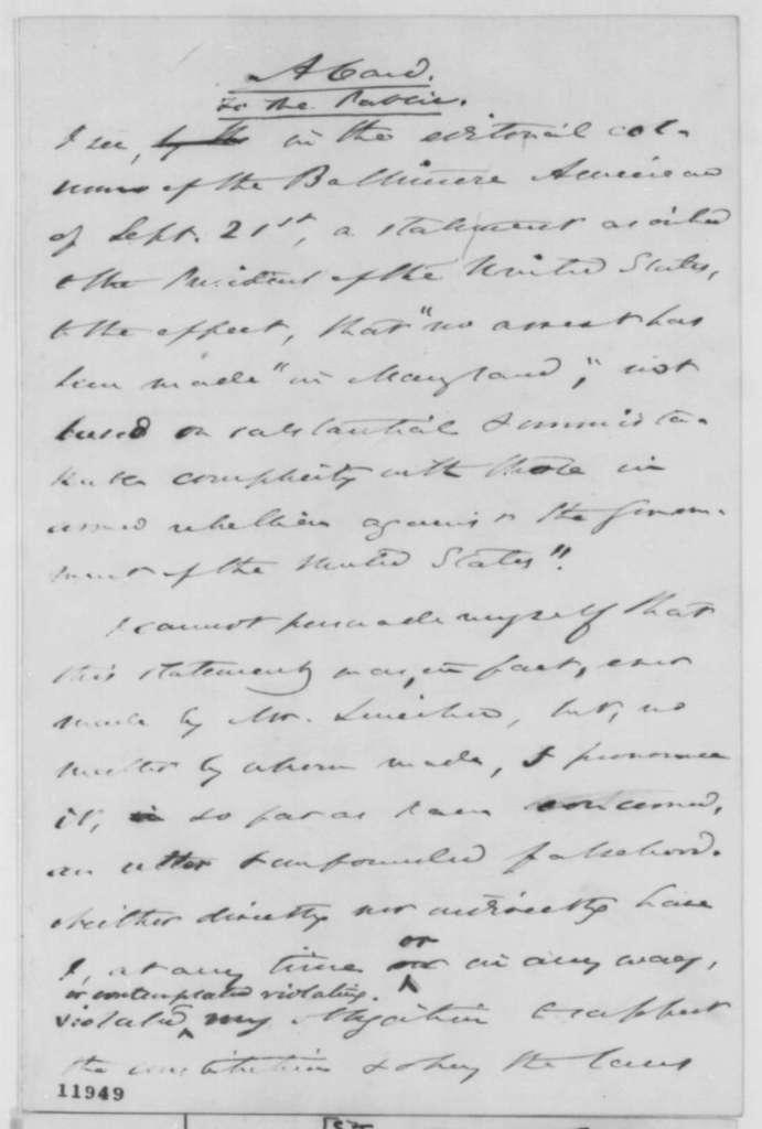 Severn Teackle Wallis, Sunday, September 22, 1861  (Memorandum on imprisonment)