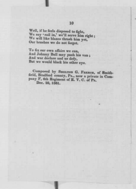 Shelton G. French, Friday, December 20, 1861  (Printed Poem)