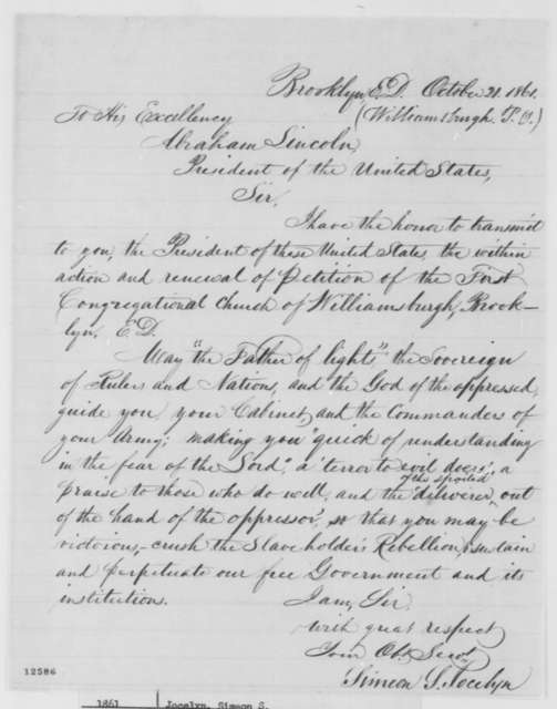 Simeon S. Jocelyn to Abraham Lincoln, Monday, October 21, 1861  (Sends petition)