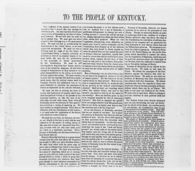 Simon B. Buckner to Kentucky Citizens, Tuesday, September 17, 1861  (Printed Proclamation)