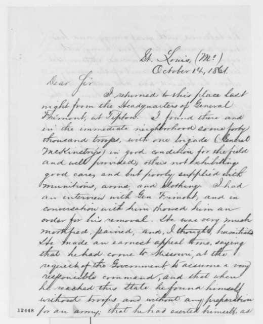 Simon Cameron to Abraham Lincoln, Monday, October 14, 1861  (Report from Missouri)