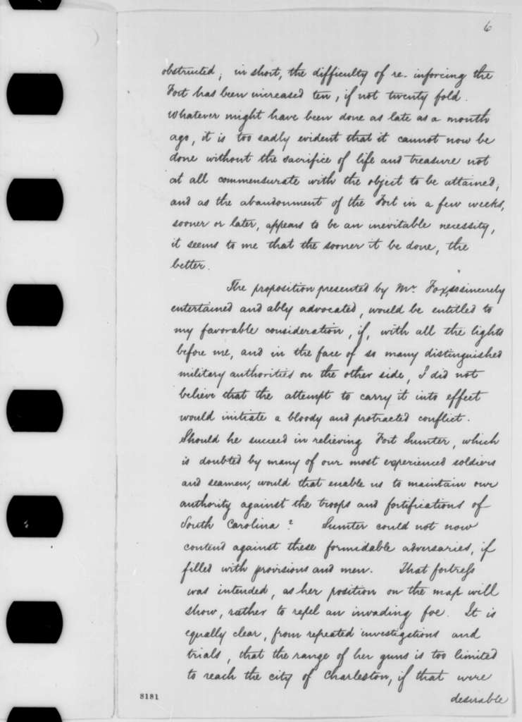 Simon Cameron to Abraham Lincoln, Saturday, March 16, 1861  (Report on Fort Sumter)