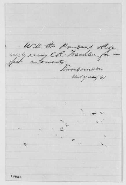 Simon Cameron to Abraham Lincoln, Wednesday, May 22, 1861  (Interview with Col. Franklin)