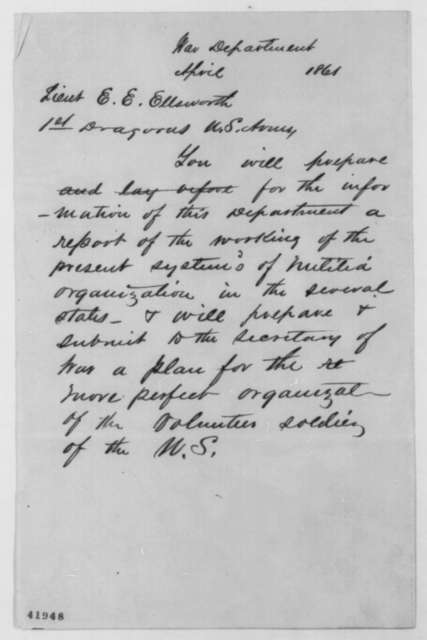 Simon Cameron to Elmer E. Ellsworth, April 1861  (Requests report on militia system)