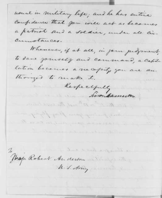 Simon Cameron to Robert Anderson, Thursday, April 04, 1861  (Copy)