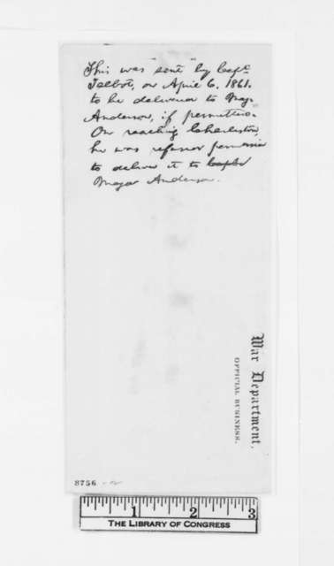 Simon Cameron to Robert Anderson, Thursday, April 04, 1861  (Copy)