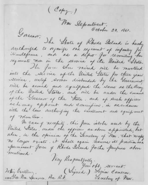 Simon Cameron to William Sprague, Wednesday, October 23, 1861  (Military preparations)