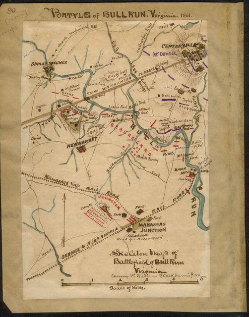 Skeleton map of battlefield of Bull Run Virginia : showing 1st battle at Blackburn's Ford.