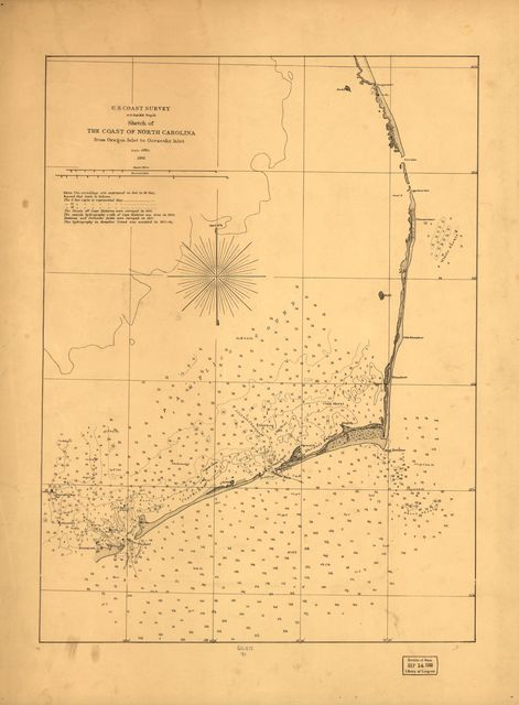 Sketch of the coast of North Carolina from Oregon Inlet to Ocracoke Inlet.