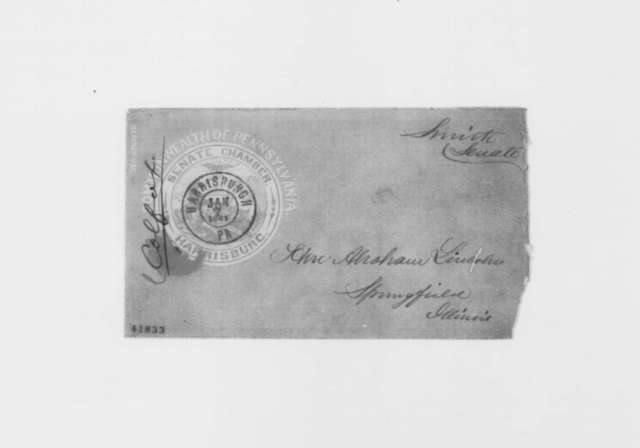 Smith to Abraham Lincoln, Monday, January 07, 1861  (Envelope)