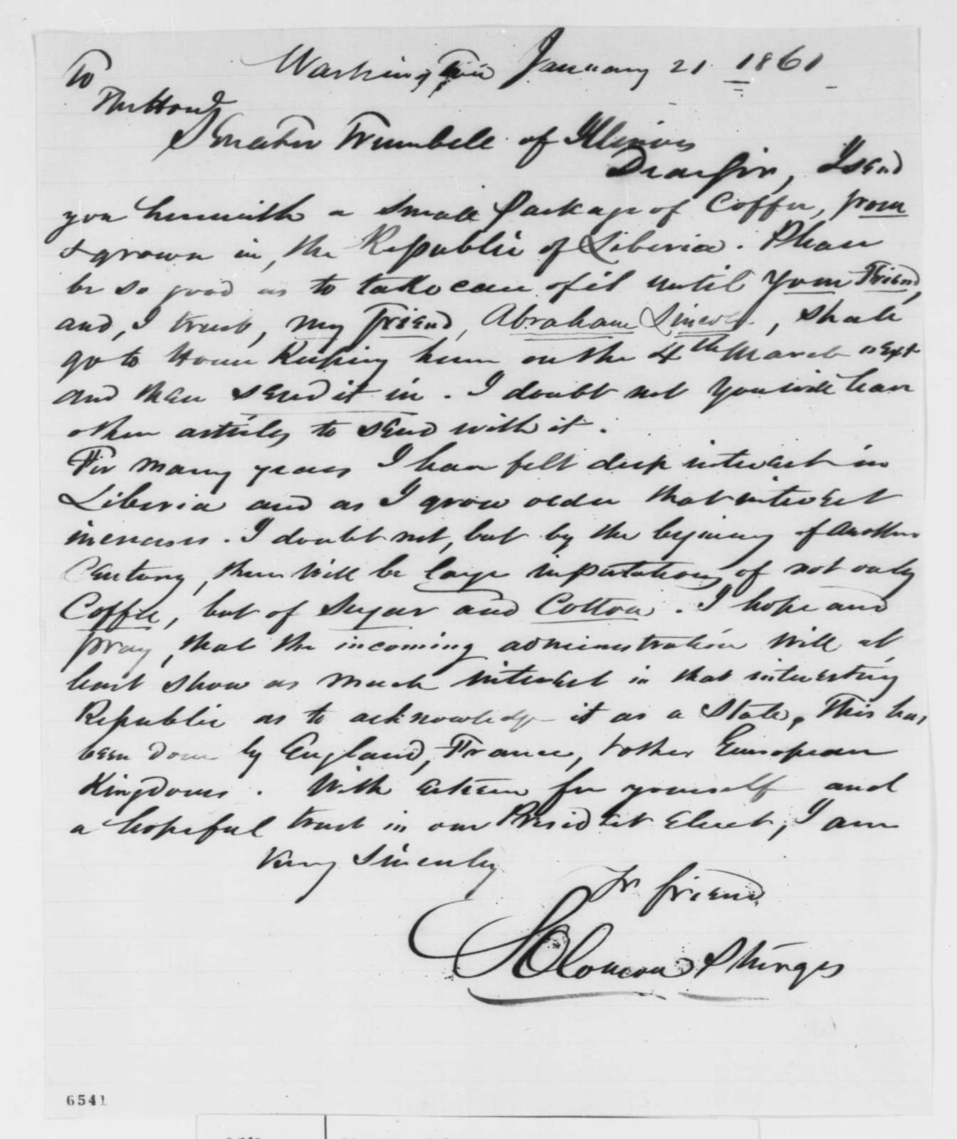 Solomon Sturges to Lyman Trumbull, Monday, January 21, 1861  (Seeks recognition of Liberia)