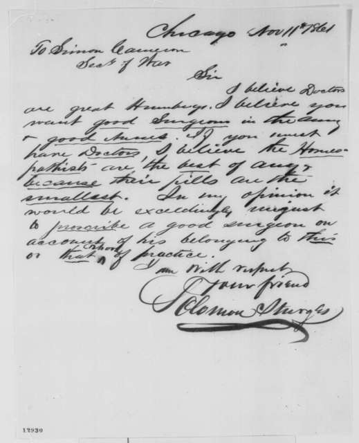 Solomon Sturges to Simon Cameron, Monday, November 11, 1861  (Surgeons for the army)