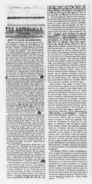 St. Louis Republican (newspaper), Saturday, October 26, 1861  (Clipping)