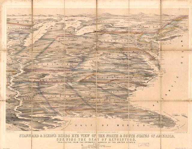 Stannard & Dixon's birds eye view of the north & south states of America : shewing the seat of revolution : projected from the ordnance surveys of the United States /