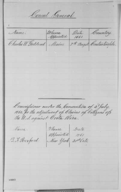 State Department, Monday, December 02, 1861  (Lists)