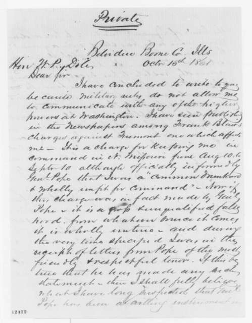 Stephen A. Hurlbut to William P. Dole, Tuesday, October 15, 1861  (Fremont and situation in Missouri)