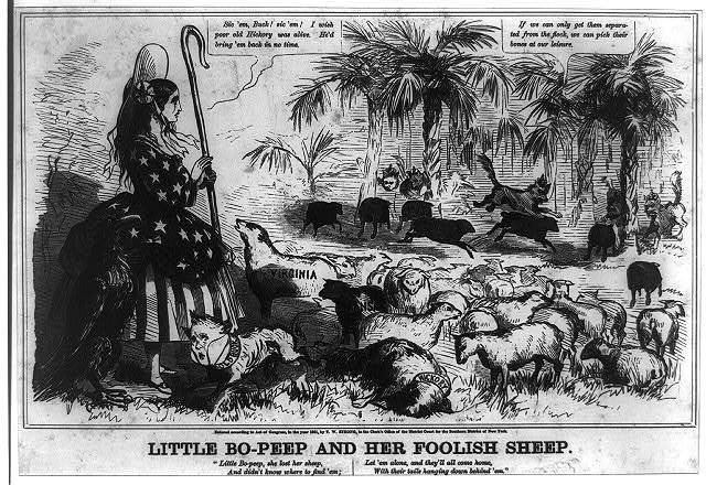 Strong's dime caricatures. No. 2, Little Bo-Peep and her foolish sheep