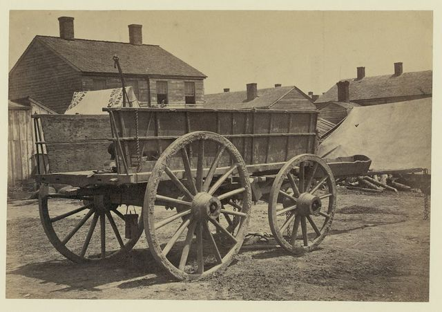 [Supply wagon, probably in a Civil War military facility]