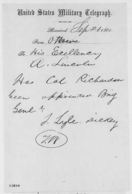 T. Lyle Dickey to Abraham Lincoln, Saturday, September 21, 1861  (Telegram regarding appointment)