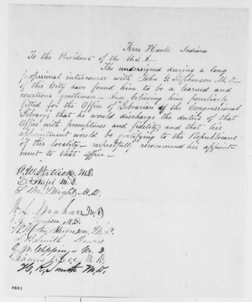 Terre Haute Indiana Citizens to Abraham Lincoln, March 1861  (Recommendation)