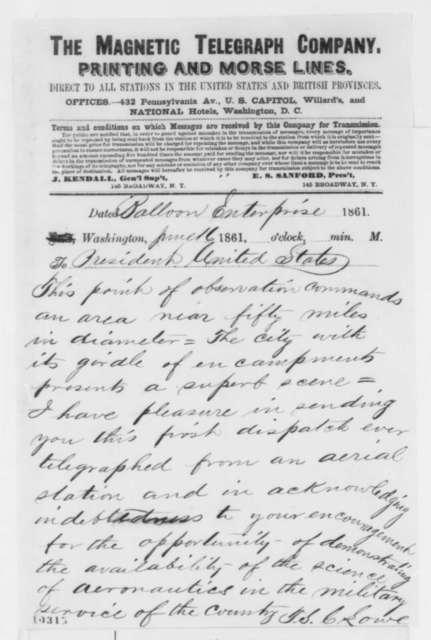 Thaddeus S. C. Lowe to Abraham Lincoln, Sunday, June 16, 1861  (Telegram from balloon)