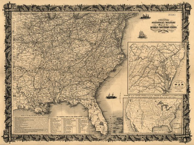 Thayer's statistical and military map of the middle and southern states.