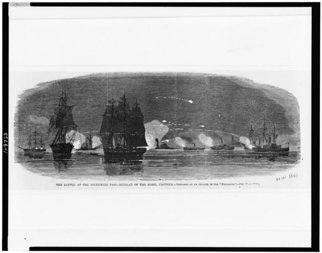 The Battle at the southwest pass - retreat of the rebel flotilla