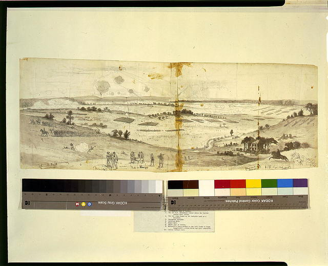 The battle of Groveton or Second Bull Run. Between the Union army commanded by Genl. Pope and the Confederate army under Genl. Robert E. Lee. Sketched from Baldface Hill, looking towards the village of Groveton]