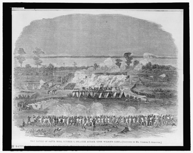 The Battle of Santa Rosa, October 9, 1861 -  the attack upon Wilson's camp / sketched by Mr. Charles F. Allgouer.