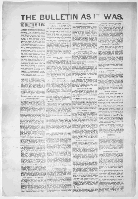 The Bulletin as it was ... Memphis. Oct. 31, 1861.