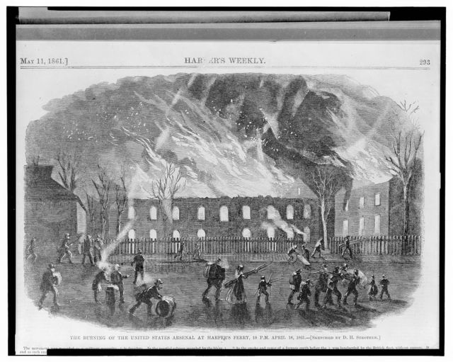 The burning of the United States arsenal at Harper's Ferry, 10 P.M. April 18, 1861 / sketched by D.H. Strother.