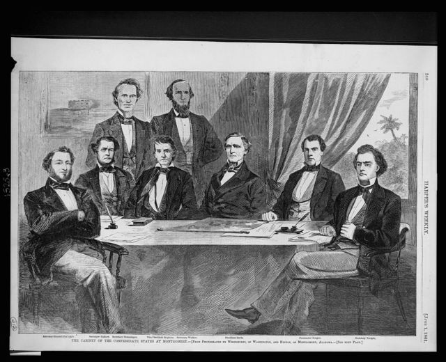 The cabinet of the Confederate States at Montgomery / from photographs by Whitehurst, of Washington, and Hinton, of Montgomery, Alabama.