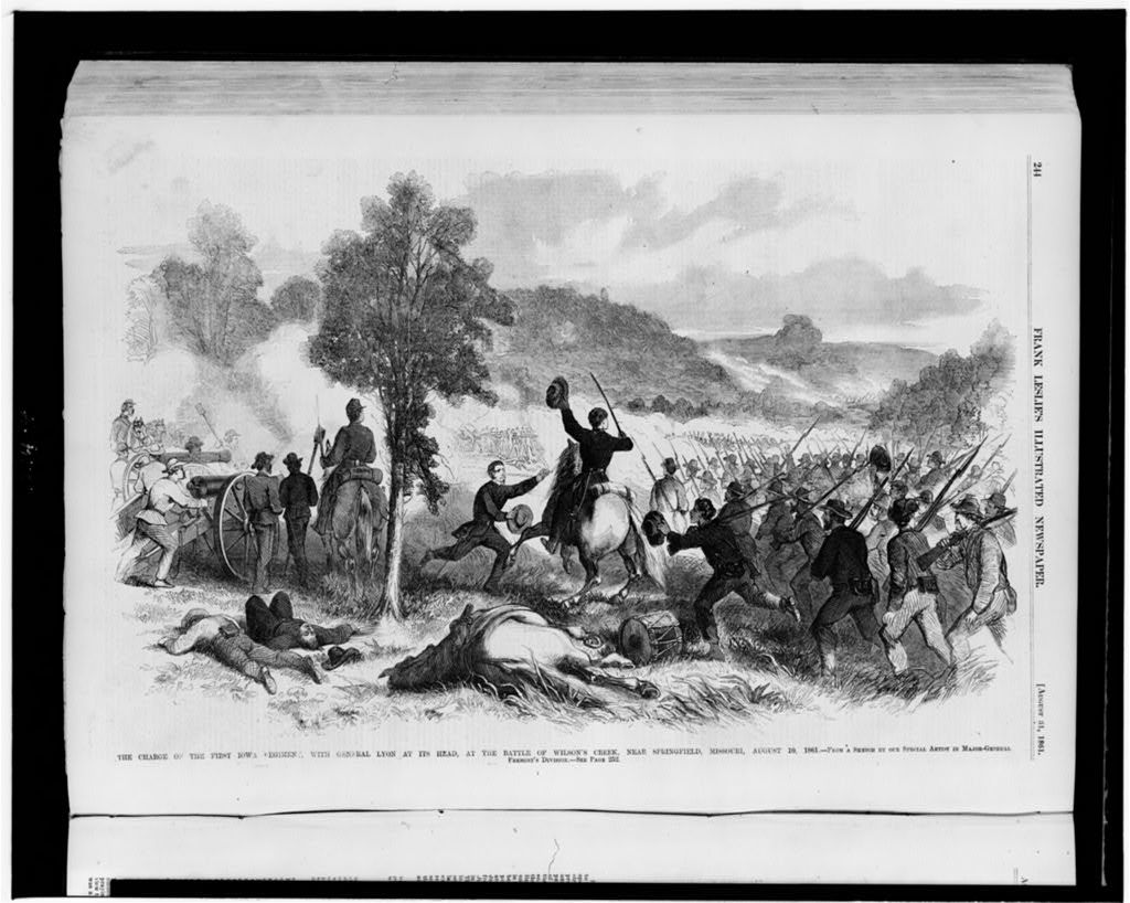 The charge of the First Iowa Regiment, with General Lyon at its head, at the Battle of Wilson's Creek, near Springfield, Missouri, August 10, 1861 / from a sketch by our special artist in Major-General Fremont's Division.