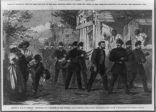 The Civil War in America--drumming out a soldier of the Federal Army through the streets of Washington / from a sketch by our special artist.