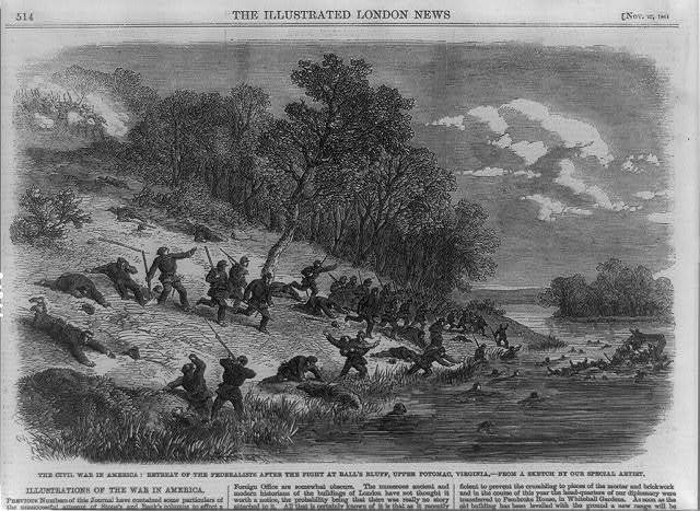 The Civil War in America--retreat of the Federalists after the fight at Ball's Bluff, upper Potomac, Virginia / from a sketch by our special artist.