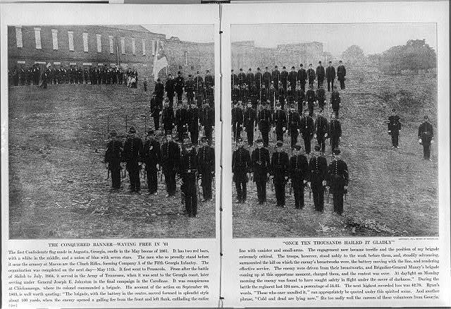 [The Clinch Rifles (Co. A, 5th Georgia Infantry) in ranks outside the armory at Macon, Ga.; with the first Confederate flag. May 1861]