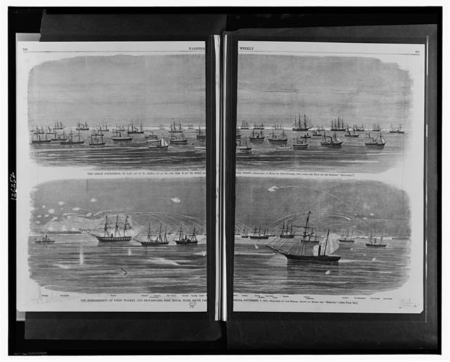 "The great expedition, [...] on the way to Port Royal Inlet / sketched at noon on 31st October, 1861, from the deck of the steamer ""Matanzas.""  The bombardment of Forts Walker and Beauregard, Port Royal Inlet, South Carolina, November 7, 1861 / sketched by our special artist on board the ""Mercury."""