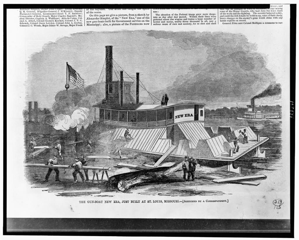The Gun-boat New Era, just built at St. Louis, Missouri / sketched by a correspondent.
